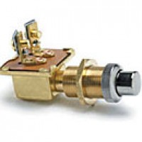 "SPST, NORMALLY ON, 10A@12VDC, 2 BRASS SCREWS, CHROME PLUNGER, MOUNTING STEM: BRASS 5/8""-32 THREAD, 1"" LONG, PANEL TO 3/4"" THICK"