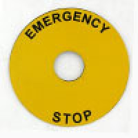 ROUND LEGAND PLATE, 90MM DIA, AL, EMERGENCY STOP