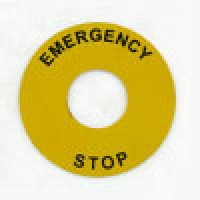 ROUND LEGAND PLATE, 60MM DIA, AL, EMERGENCY STOP