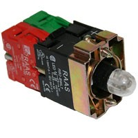 ILLUMINATED PUSH BUTTON HOLDER BLOCK W/ LED GREEN 240V, 1NO+1NC