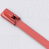 "8"" 316 STAINLESS STEEL CABLE TIE 150LB ROLLER BALL COATED RED"
