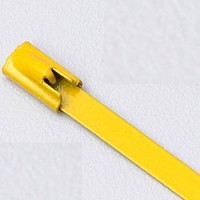 """8"""" 316 STAINLESS STEEL CABLE TIE 150LB ROLLER BALL COATED YELLOW"""