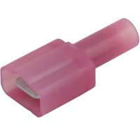 """Red Nylon Fully Insulated Male Disconnect Crimp Terminal 1/4"""" (.250) tab"""
