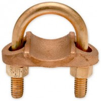 "Ground Clamp 3-1/2"" IPS Pipe to Braid, Cable or Strip Copper 