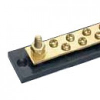 COMMON BUSBAR, ONE BUSBAR, 20-GANG, SOLID BRASS, CARRIES UP TO 150A, TWO 1/4-20 BRASS STUDS W/HEXNUTS, 8-32 ROUND HEAD SCREWS,