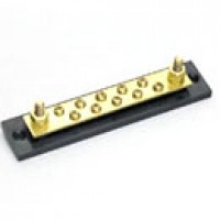 COMMON BUSBAR, ONE BUSBAR, 10-GANG, SOLID BRASS, CARRIES UP TO 150A, TWO 1/4-20 BRASS STUDS W/HEXNUTS, 8-32 ROUND HEAD SCREWS,
