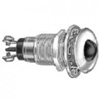 "DOUBLE CONTACT, METAL SOCKET, CHROME-PLATED BRASS BEZEL, 17/32"" SMOOTH LENS, RED, 12V BULB SUPPLIED"