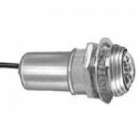 """SINGLE CONTACT, SELF GROUNDING, PLATED, BRASS BEZEL, 15/16"""" FACEDTED LENS, RED, 12V BULB SUPPLIED"""