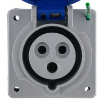 320R6W Pin And Sleeve Receptacle 20 Amp 2 Pole 3 Wire Front