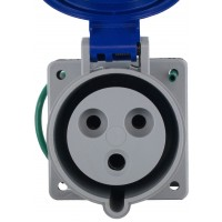 332R6S Pin And Sleeve Receptacle 32 Amp 2 Pole 3 Wire Front