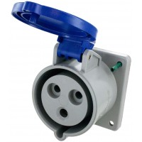 332R6S Pin And Sleeve Receptacle 32 Amp 2 Pole 3 Wire Open