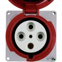 4125R6W Pin And Sleeve Receptacle 125 Amp 3 Pole 4 Wire Front