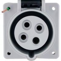 420R5S Pin And Sleeve Receptacle 20 Amp 3 Pole 4 Wire Front