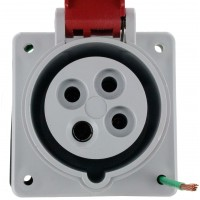 420R7S Pin And Sleeve Receptacle 20 Amp 3 Pole 4 Wire Front