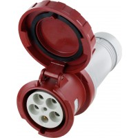 Scame Pin And Sleeve Connector 125 Amp 4 Pole 5 Wire Watertight Red Open