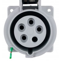 520R5W Pin And Sleeve Receptacle 20 Amp 4 Pole 5 Wire Front