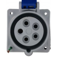 520R9S Pin And Sleeve Receptacle 20 Amp 4 Pole 5 Wire Front