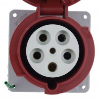 563R6W Pin And Sleeve Receptacle 63 Amp 4 Pole 5 Wire Front