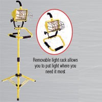 "SINGLE HEAD, CONVERTIBLE WORK LIGHT TOWER, 500W, 40"" TRIPOD, 18/3, SJTW, 6FT CORD"