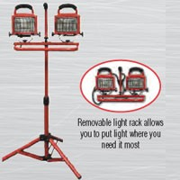 "HEAVY DUTY, DOUBLE HEAD, CONVERTIBLE WORK LIGHT TOWER, 500W, 40"" TRIPOD, 18/3, SJTW, 6FT CORD"