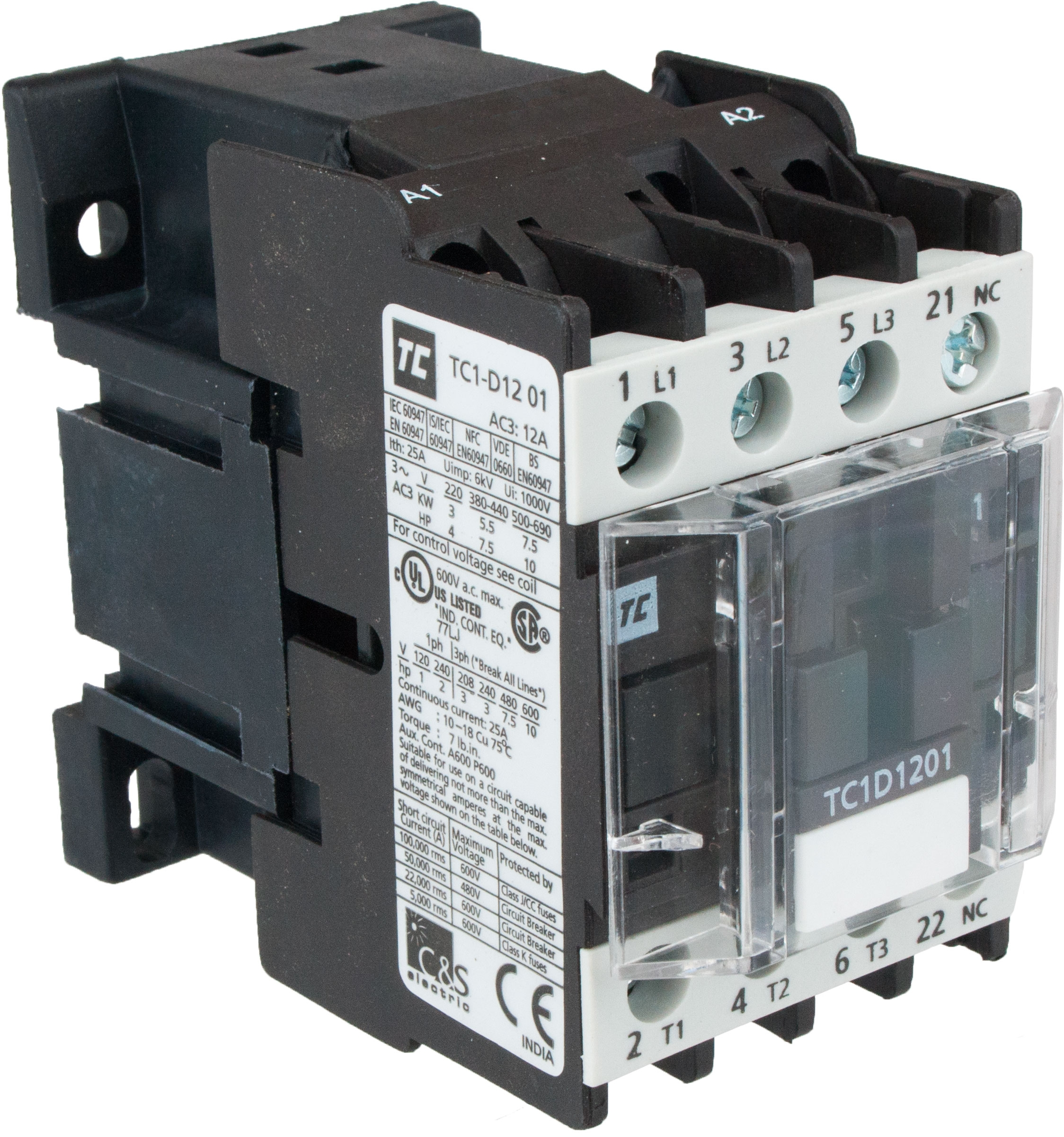 3 Pole Contactor 12 Amp 220 Vac Coil Tc1d1201m7 Elecdirect Wiring