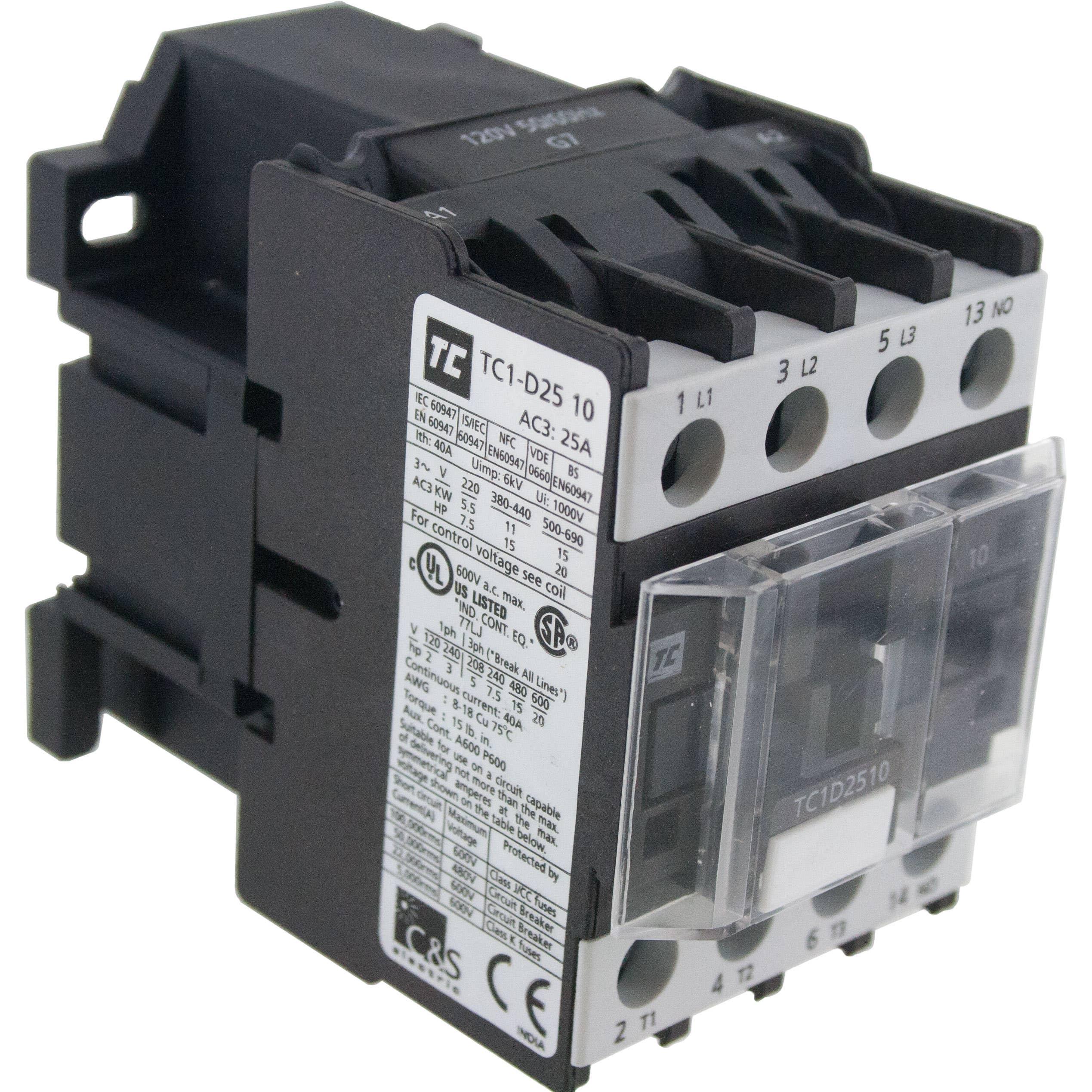 220 Volt 2 Pole Contactor Wiring Start Building A Diagram Ge 4 Control 3 25 Amp 1 N O 240 Ac Coil Elecdirect Rh Com Goodman
