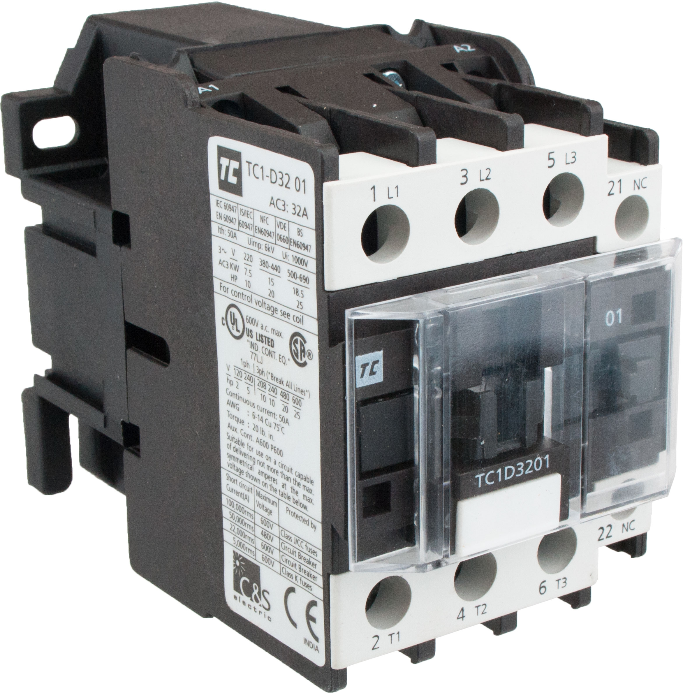 3 Pole Contactor 32 Amp 440 Volt Ac Coil Tc1d3201r7 Elecdirect 120 Wiring