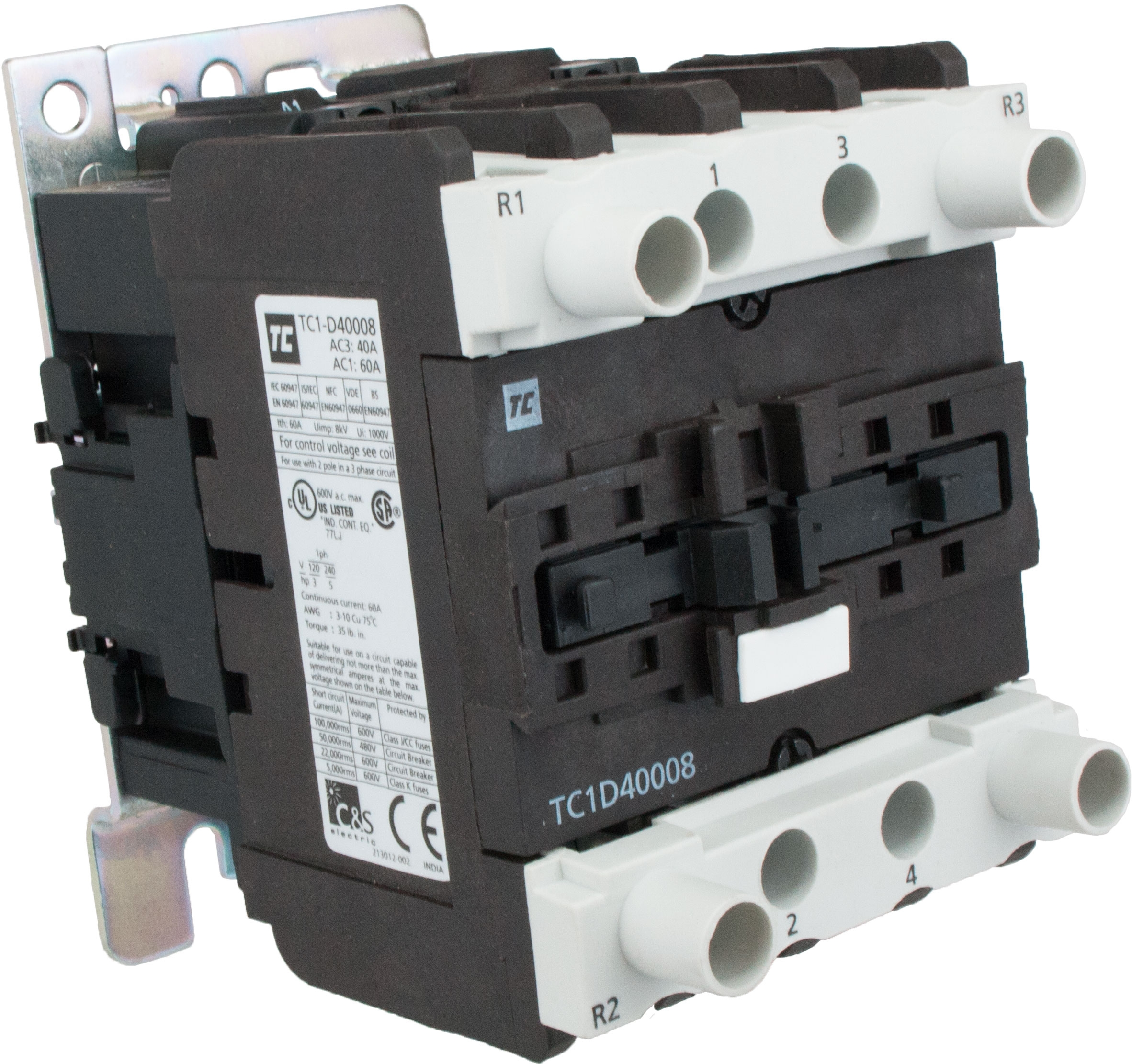 4 Pole Contactor 40 Amp 2 N O C 120 Volt Ac Coil Tc1d40008g7 Nema 3 Phase Wiring Elecdirect