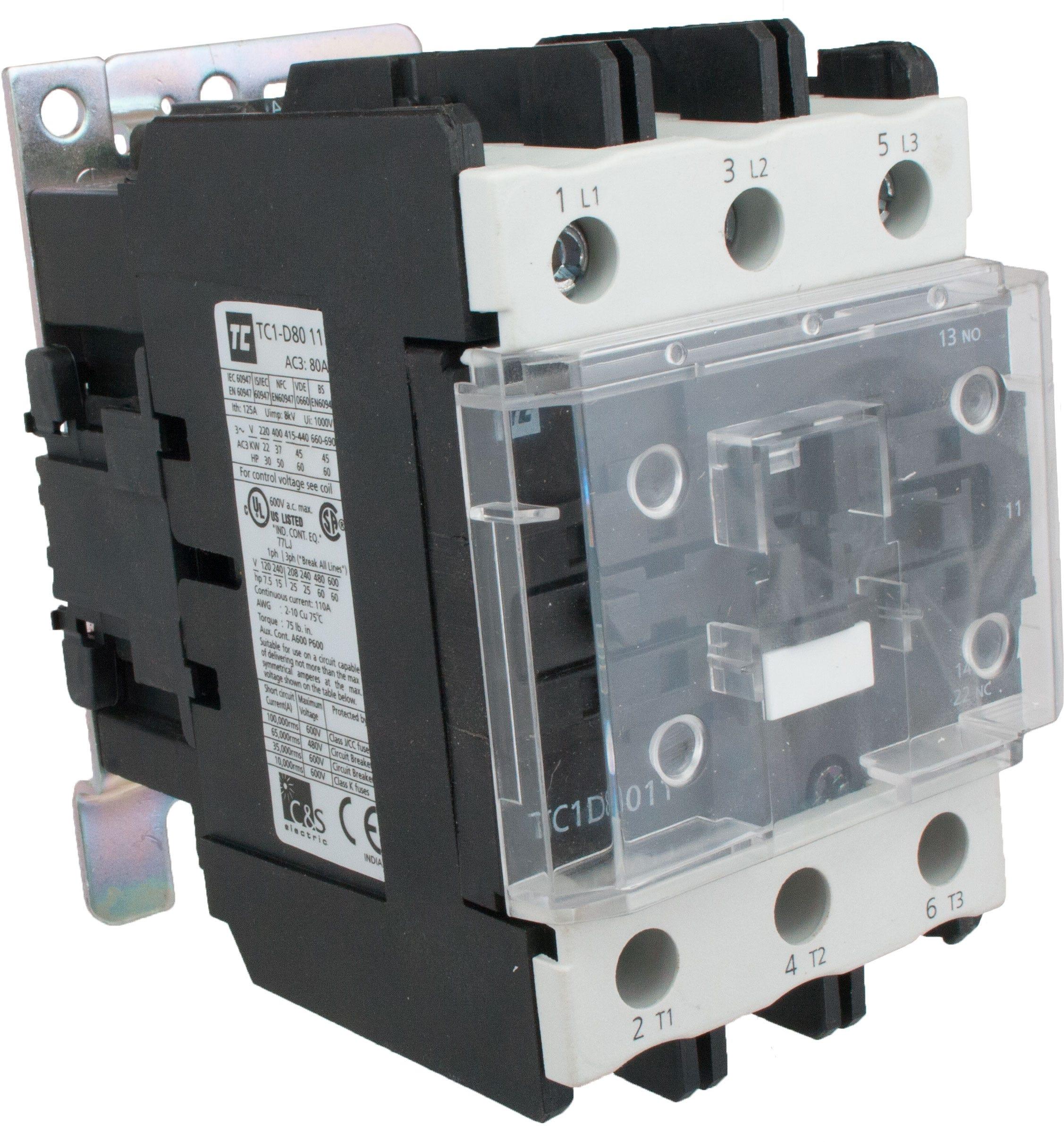 3 Pole Contactor 80 Amp 1 N O C 240 Volt Ac Coil Tc1d8011u7 220 22 Fuses Breaker Box Elecdirect