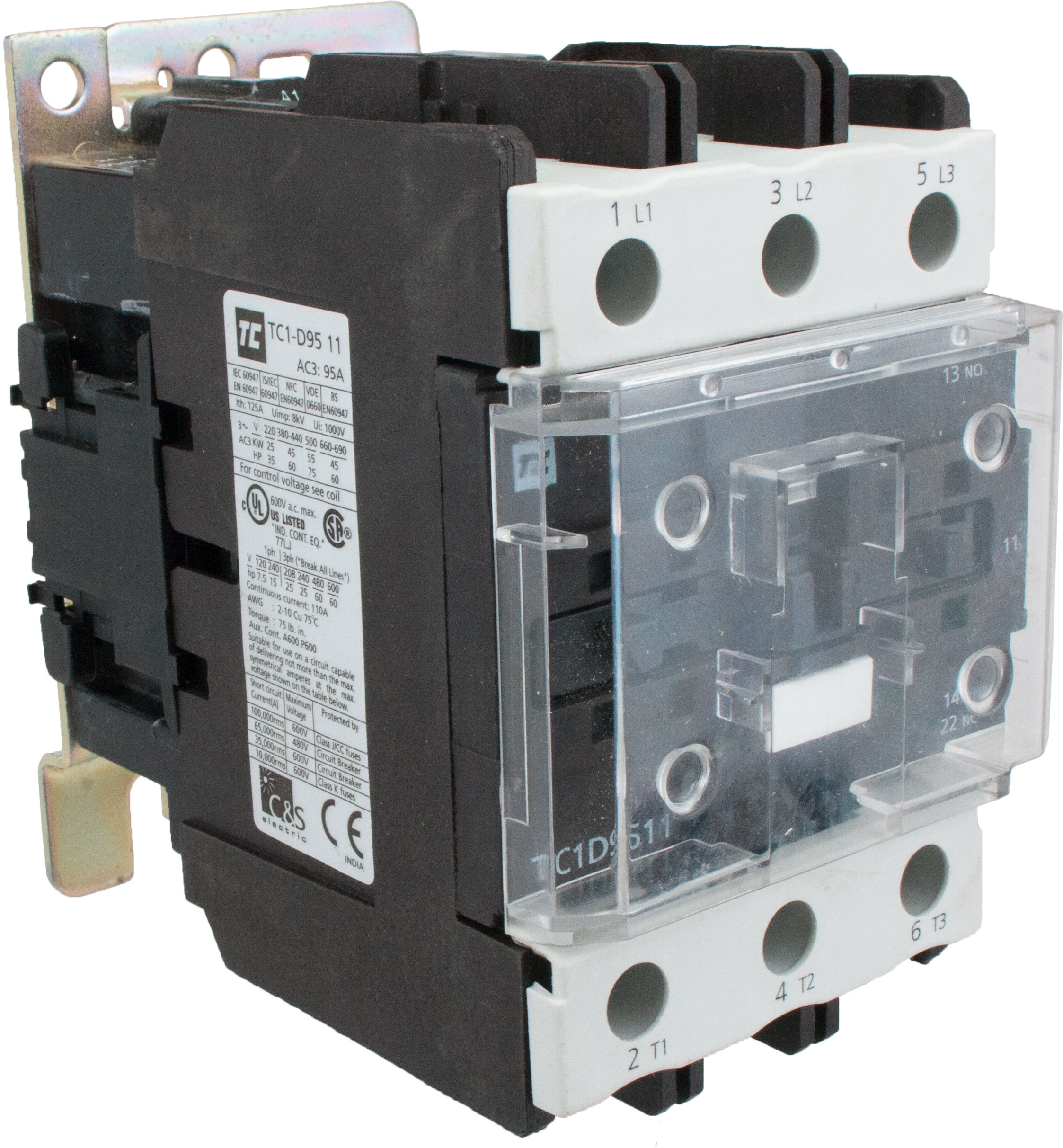 3 Pole Contactor 95 Amp 1 N O C 208 Volt Ac Coil Tc1d9511l6 Wiring Elecdirect
